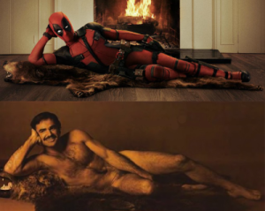Ryan Reynolds as Deadpool spoofing Burt Reynolds