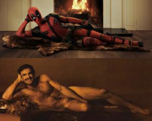 Ryan Reynolds as Deadpool spoofing Burt Reynolds