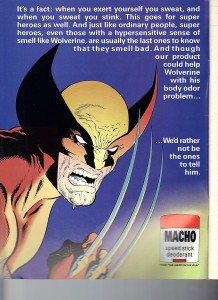 Marvel Illustrated 1991 Paul Ryan Wolverine Deoderant Ad